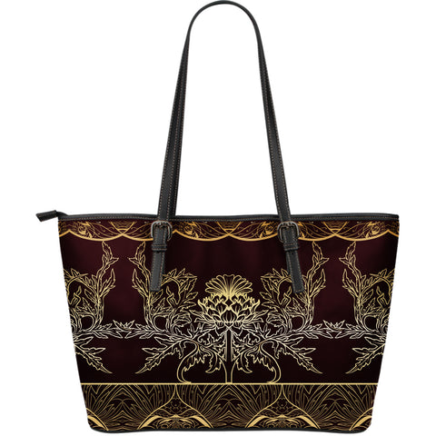 Thistle Pattern - Leather Tote Bag | Special Custom Design