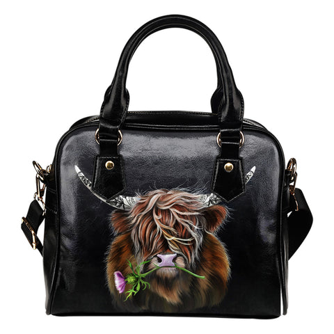 Scotland Shoulder Handbag - Thistle Highland Cow | Love Scotland