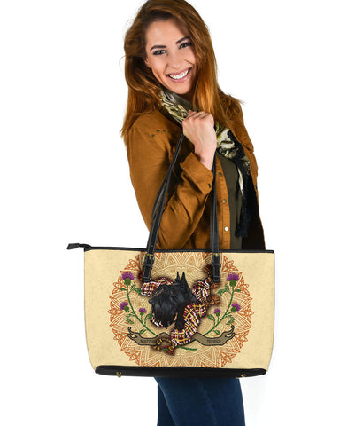 Scotland Large Leather Tote - Scottish Terrier Thistle A24