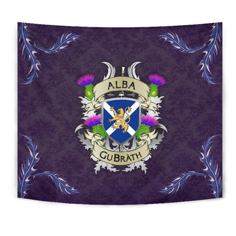 Scotland Tapestry - Scotland Forever Flag Lion Thistle Purple (Alba GuBràth)