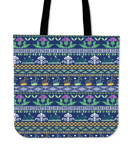 Image of Blue Thistle Pattern - Scotland Tote Bag | HOT SALE