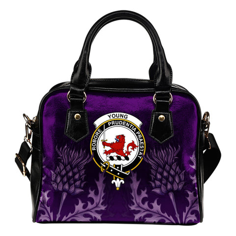 Young Crest Shoulder Handbag - Scottish Thistle Purple