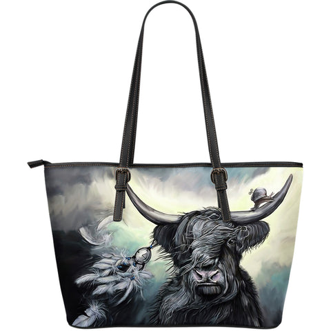 Highland Cow - Scotland Leather Tote Bag | Hot sale