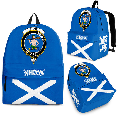 Shaw (of Sauchie) Crest Backpack Scottish Flag A7