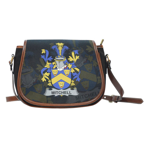 Mitchell Ireland Canvas Leather Trim Saddle Bag - Irish Family Crest A7