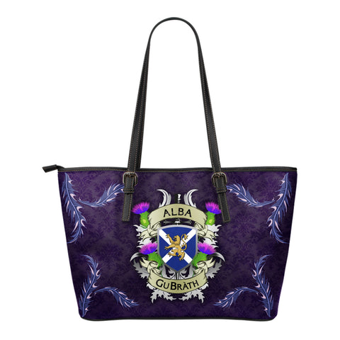 Scotland Small Leather Tote - Scotland Forever Flag Lion Thistle Purple (Alba GuBràth)