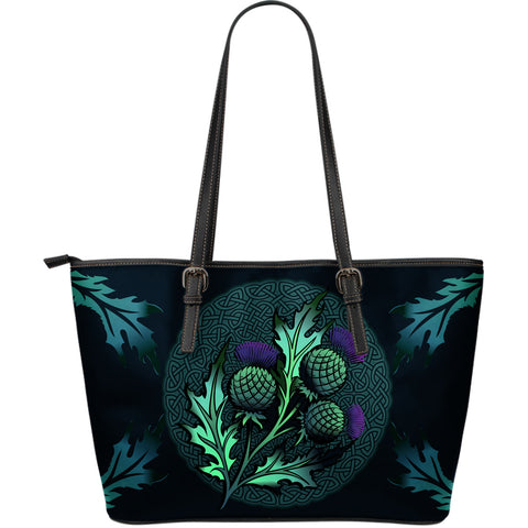 Beautiful Thistle and Celtic - Scotland Leather Tote Bag | Love Scotland