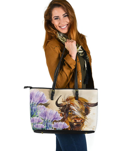 Scotland Leather Tote Scottish Highland Thistle Watercolor A10