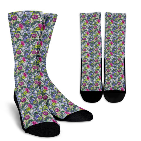 Scottish Thistle Pattern 12 Crew Socks | HOT Sale