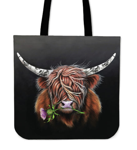 Thistle Highland Cow - Scotland Tote Bags | Special Custom Design