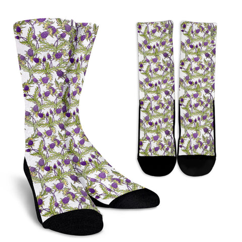 Scottish Thistle Pattern 16 Crew Socks | HOT Sale