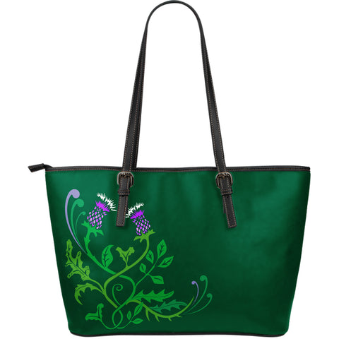 Scottish Thistle - Leather Tote Bag | Special Custom Design