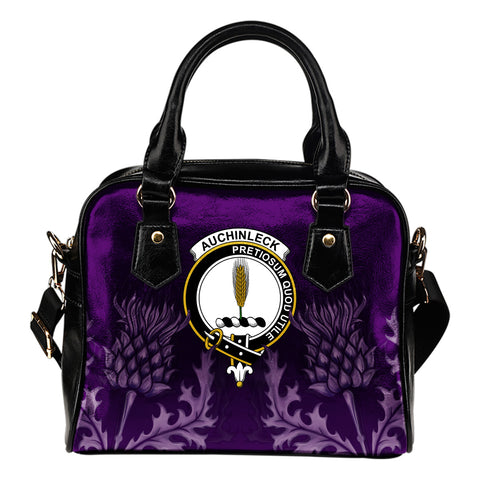 Auchinleck or Affleck Crest Shoulder Handbag - Scottish Thistle Purple