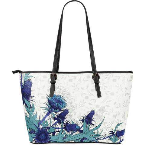 Blue Thistle - Leather Tote Bag | Special Custom Design