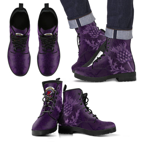 Adam Crest Scottish Thistle Scotland Leather Boots Purple | Over 300 Clans