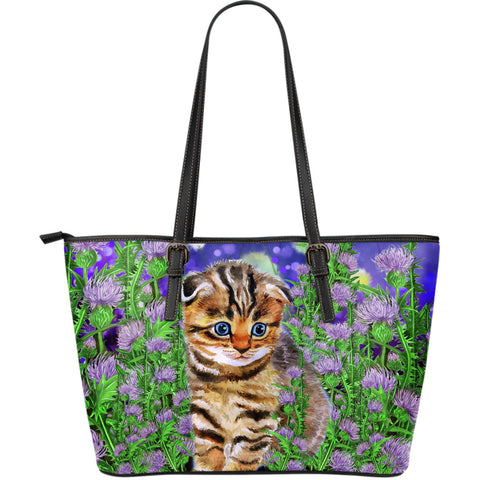 Scottish Fold Cat And Thistle - Leather Tote | HOT Sale