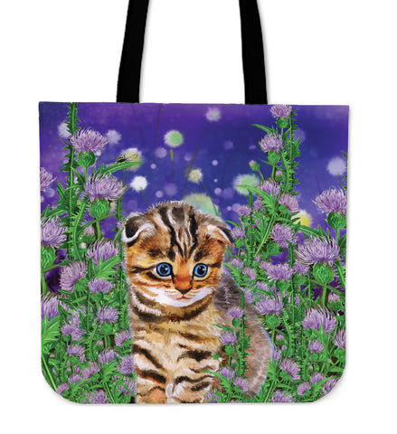 Scottish Fold Cat And Thistle - Tote Bag | HOT Sale
