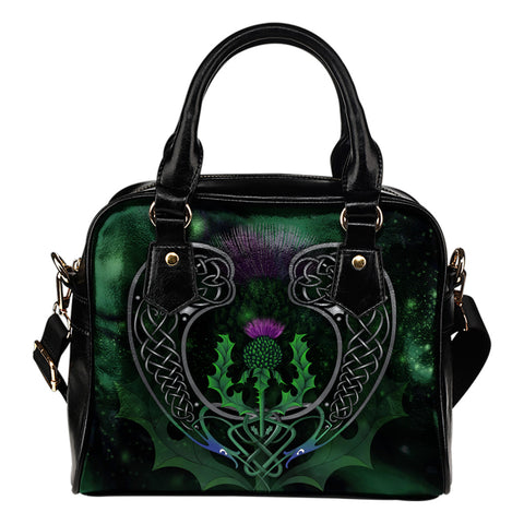 Scotland Shoulder Handbag - Celtic Thistle Green | Love Scotland