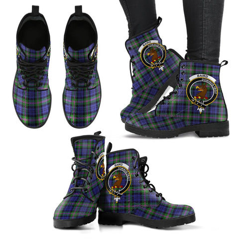 Baird Modern Tartan Clan Badge Leather Boots A9