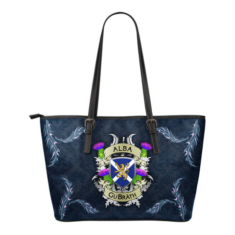 Scotland Small Leather Tote - Scotland Forever Flag Lion Thistle (Alba GuBràth)