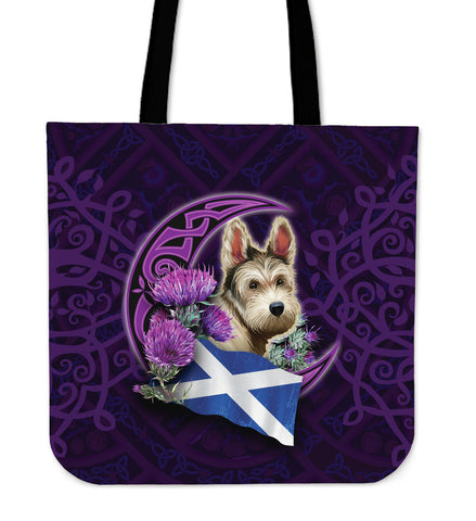 Scotland Tote Bag Celtic Tree Of Life - Scottish Terrier And Thistle Moon Celtic