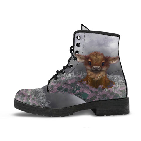 Scotland Leather Boots - Highland Cow Thistle A24 | Love Scotland