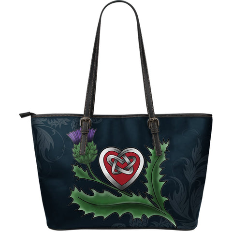 Scotland Large Leather Tote - Scottish Heart Thistle Celtic| Love Scotland