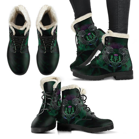 Image of Scotland Faux Fur Leather Boots - Celtic Thistle Green | Love Scotland