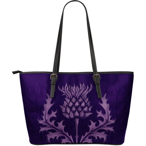 Scotland Leather Tote Bag - Purple Thistle (Large) | HOT Sale