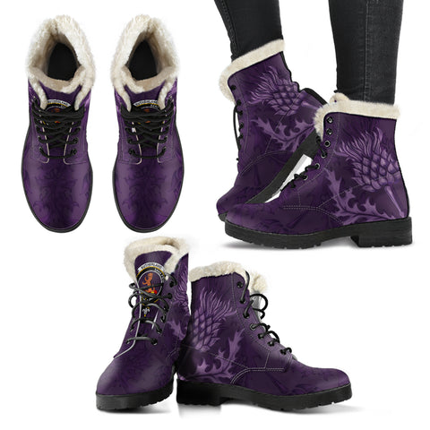 Sutherland II Crest Scottish Thistle Scotland Faux Fur Leather Boots Purple | Over 300 Clans