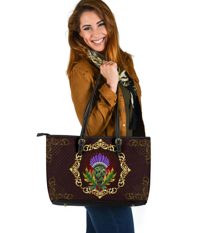 Scotland Large Leather Tote - Thistle Special Gold | Love Scotland