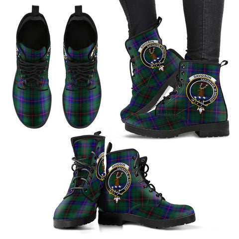 Davidson Modern Tartan Clan Badge Leather Boots A9