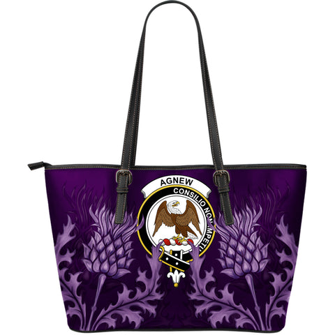 Agnew Leather Tote Bag - Scottish Thistle (Large Size) A7