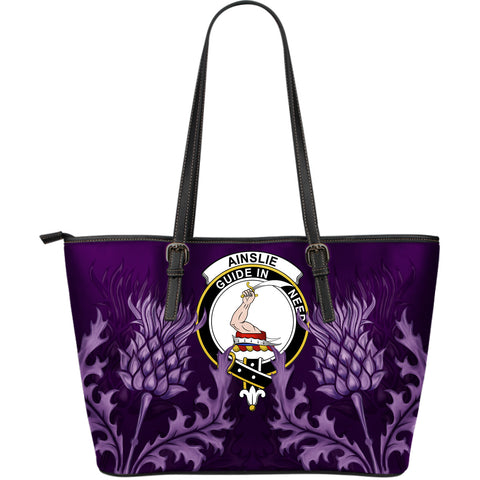 Ainslie Leather Tote Bag - Scottish Thistle (Large Size) A7