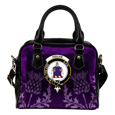 Ogilvie Crest Shoulder Handbag - Scottish Thistle Purple