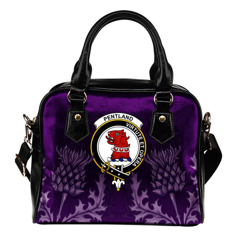 Pentland Crest Shoulder Handbag - Scottish Thistle Purple