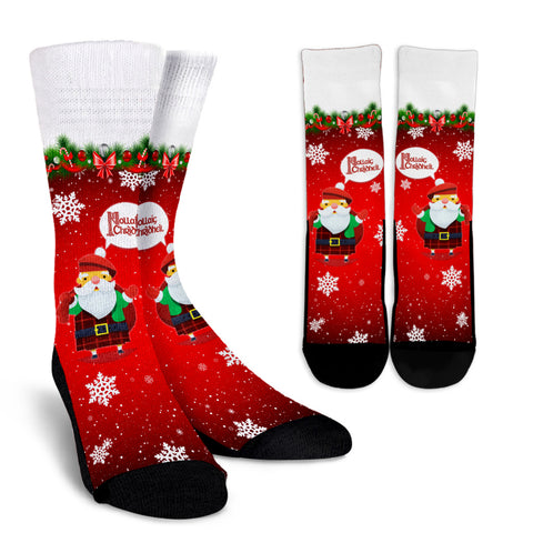 Scottish Christmas Santa Crew Socks | Special Custom Design