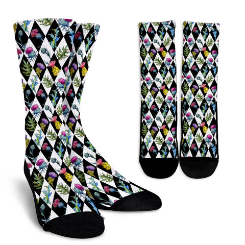 Scottish Thistle Pattern 08 Crew Socks | HOT Sale
