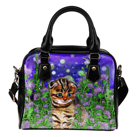 Scottish Fold Cat And Thistle - Shoulder Handbag | HOT Sale