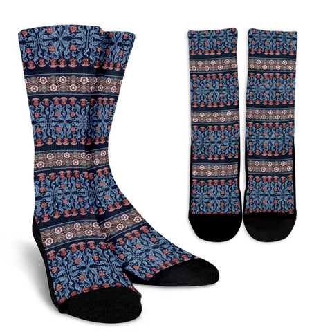 Scottish Thistle Pattern 14 Crew Socks | HOT Sale