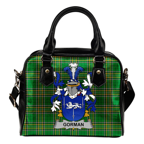 Gorman or McGorman Ireland Shoulder Handbag Irish National Tartan  | Over 1400 Crests | Bags | Water-Resistant PU leather