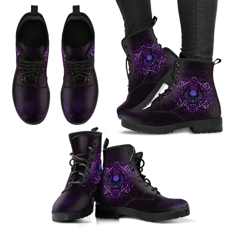 Scotland Leather Boots - Purple Thistle Celtic | Love Scotland