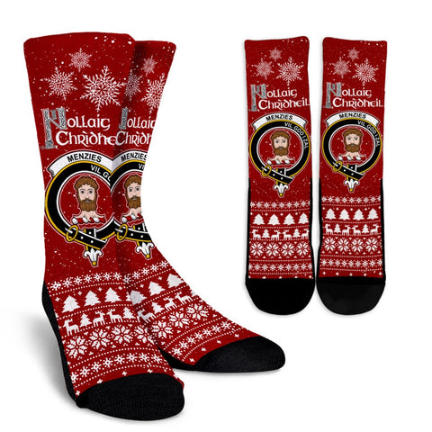 Menzies Crest Crew Sock - Nollaig Chridheil | Over 300 Clans | High Quality