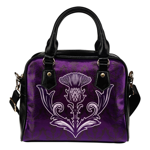 Vintage Purple Thistle Shoulder Handbag | Special Custom Design