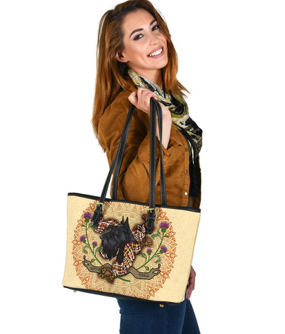 Image of Scotland Small Leather Tote - Scottish Terrier Thistle | Love Scotland
