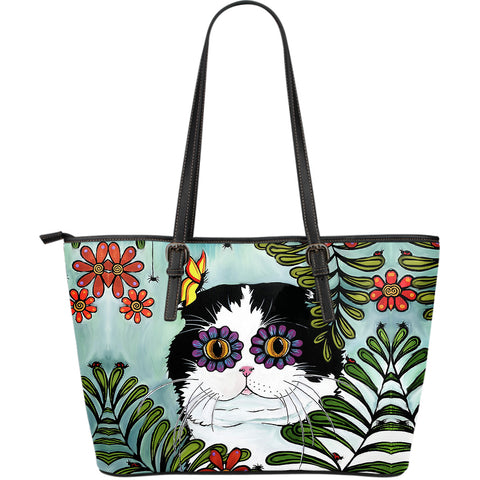 Hiding Scottish Fold Cat - Leather Tote (Large) | HOT Sale