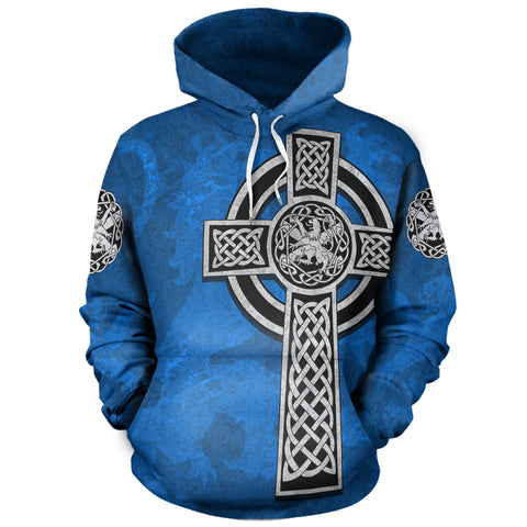 Image of Celtic Cross Lion - Scottish Blue Pullover Hoodie | Love Scotland