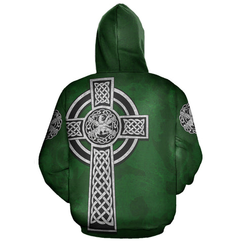 Celtic Cross Lion - Green Pullover Hoodie | Love Scotland