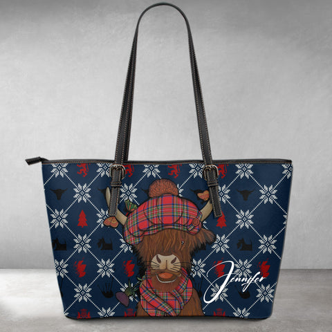 (Custom) 1stScotland Leather Tote- Christmas Highland Cow | 1stScotland