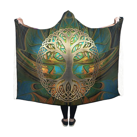 Image of Celtic Hooded Blanket - Luxury Golden Celtic Tree | HOT Sale